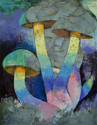 Surrealist Painting - Magic Mushrooms by Michael Creese