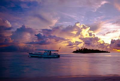 Magic Sky. Maldivian Island Art Print by Jenny Rainbow