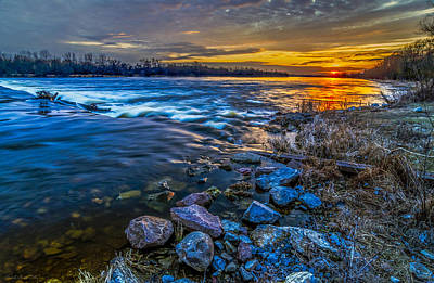 Magic Sunset Over Narew River Art Print
