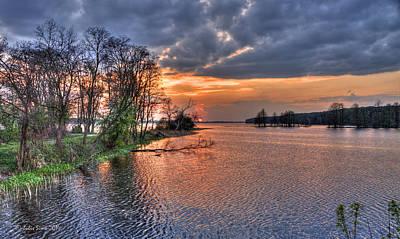 Magic Sunset Over Zegrze Lake Near Warsaw In Poland Art Print