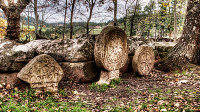 Photograph - Magic Symbols In Ancient Christian Tombs And Steles Under The Oaktree by Weston Westmoreland
