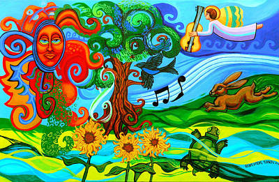 Guitar Angels Painting - Magical Earth by Genevieve Esson