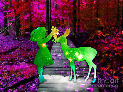 Deer Mixed Media - Magical Moments by Marvin Blaine