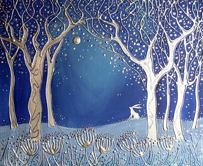 Silver Moonlight Painting - Magical Moonlight by Angie Livingstone