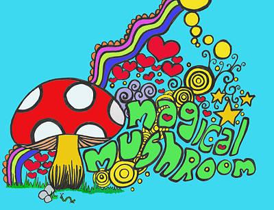 Magical Mushroom Pop Art Art Print by Moya Moon