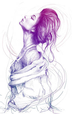 Vibrant Drawing - Purple Fashion Illustration by Olga Shvartsur
