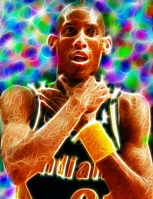 Sports Paintings - Magical Reggie Miller Choke by Paul Van Scott