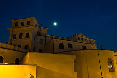 Photograph - Magical Rome Italy - Yellow Facades And Moonlight by Georgia Mizuleva