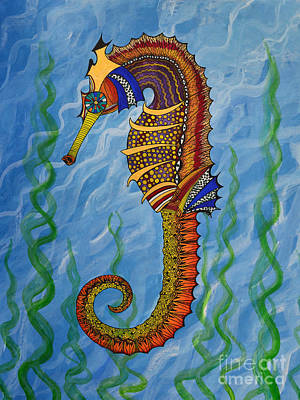 Art Print featuring the painting Magical Seahorse by Suzette Kallen