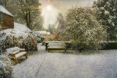 Small Trees Digital Art - Magical Snowy Garden by Ian Mitchell
