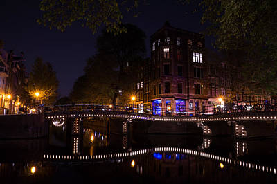Magical Sparkling Amsterdam Canals And Bridges At Night Art Print