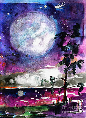 Magical Swamp Lights Big Moon Art Print