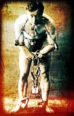 Magician Harry Houdini In Chains   Art Print
