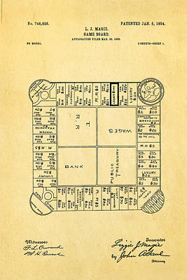 Photograph - Magie Landlord's Game Patent Art 1904 by Ian Monk