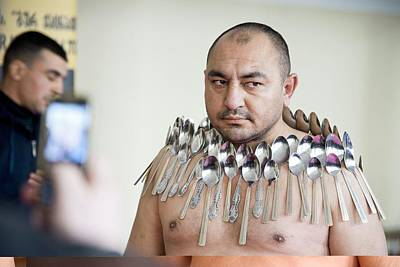 Tbilisi Photograph - Magnet Man' World Record Attempt, by Science Photo Library