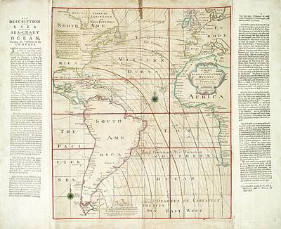 Magnetic Chart Of The Atlantic Art Print by Stephen A. Schwarzman Building/the Lionel Pincus And Princess Firyal Map Division/new York Public Library