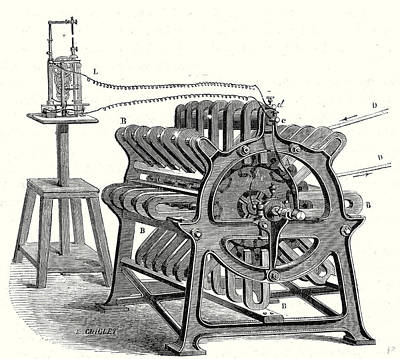 Electricity Drawing - Magneto-electric Machine From The Alliance Company by English School