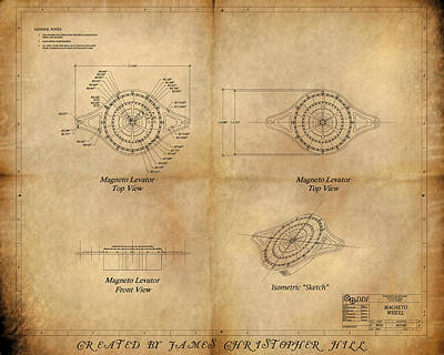 Magneto System Blueprint Art Print by James Christopher Hill