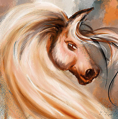 Magnificence- Colorful Horse- White And Brown Paintings Print by Lourry Legarde