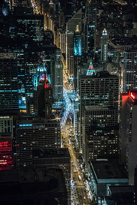 Photograph - Magnificent Mile At Night From The 96th by Alan Marlowe