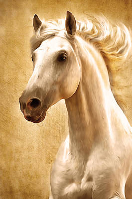 Horse Portrait Digital Art - Magnificent Presence Horse Painting by Georgiana Romanovna