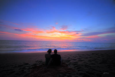 Magnificent Sunset With Couple Art Print by Ed Cilley
