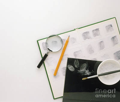 Photograph - Magnifying Glass, Pencil, Ink Pad, Talc by Dave King / Dorling Kindersley