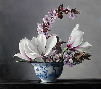 Magnolia Painting - Magnolia And Apple Blossem by Pieter Wagemans
