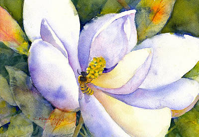 Painting - Magnolia And Bumble Bee 2 by Cynthia Roudebush