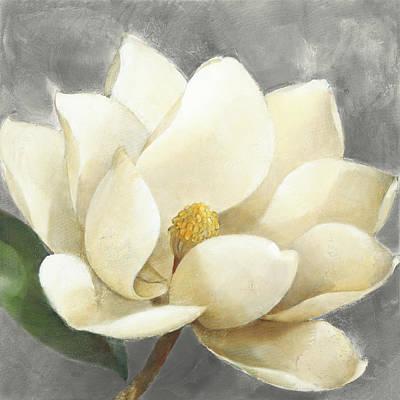Gardenia Painting - Magnolia Blossom On Gray by Albena Hristova