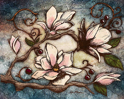 Blue Flowers Digital Art - Magnolia Branch I by April Moen