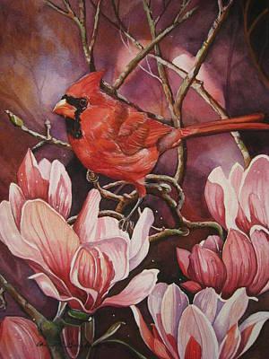 Magnolia Cardinal Art Print by Cheryl Borchert