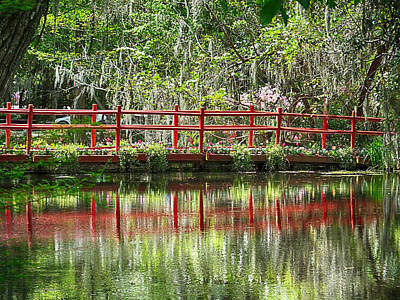 Photograph - Magnolia Gardens Red Bridge by Bill Barber