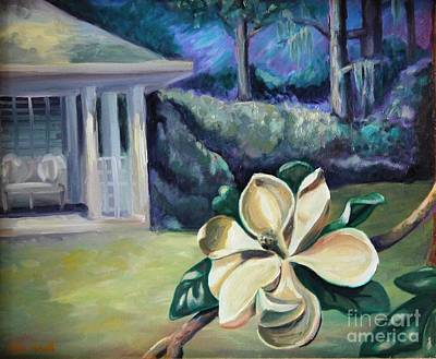 Magnolia In Moonlight Art Print by Ellen Howell