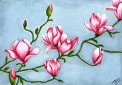Magnolia Flower Drawing - Magnolia by Kerstin Schroeder