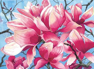 Pink Flower Branch Painting - Magnolia Medley by Barbara Jewell