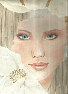 Woman Face Drawing - Magnolia by P J Lewis
