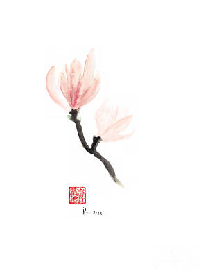 Magnolia Pink Flower Flowers Delicate Watercolor Painting Art Print