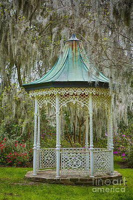 Magnolia Plantation Gazebo Art Print by Carrie Cranwill