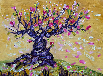 Magnolia Tree Flower Painting Oil On Canvas By Ekaterina Chernova Art Print