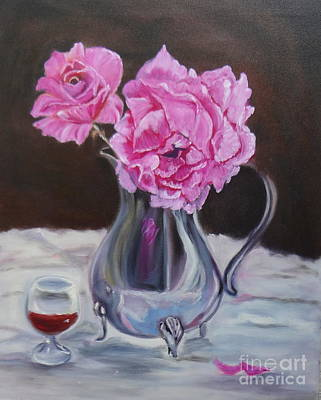 Silver Tea Pot Painting - Magenta Roses by Jenny Lee