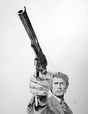 Drawing - Magnum Force Clint Eastwood by Dan Twyman