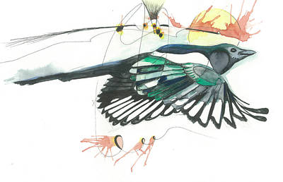 Magpies Mixed Media - Magpie by Gregory Ellis