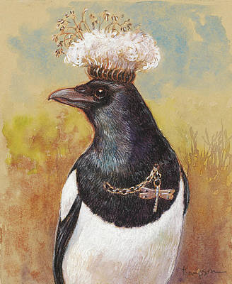 Corvid Mixed Media - Magpie In A Milkweed Crown by Tracie Thompson
