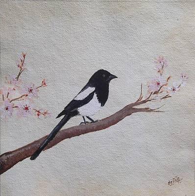 Tree Painting - Magpie On Cherryblossm Tree by Sheela Padmanabhan