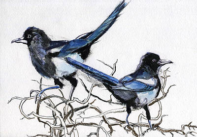 Magpies Mixed Media - Magpies by Lelia Sorokina