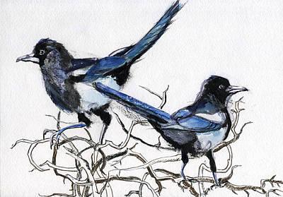 Mixed Media - Magpies by Lelia Sorokina