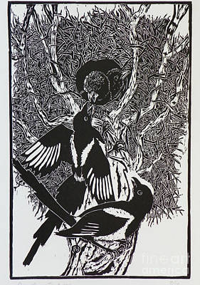 Drawing - Magpies -- Woodcut Illustration For Corvidae by Dawn Senior-Trask