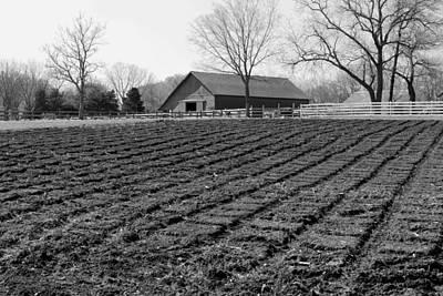 Photograph - Mahaffie Farm Springtime 2013 Bw by Elizabeth Sullivan