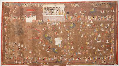 Maharana Sangram Singh Of Udaipur Entertaining Members Art Print
